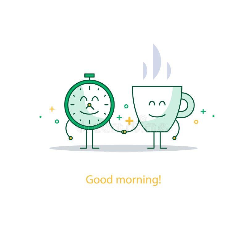 Buena mañana, nuevo día feliz, rotura caliente del tiempo del té, bebida del desayuno stock de ilustración