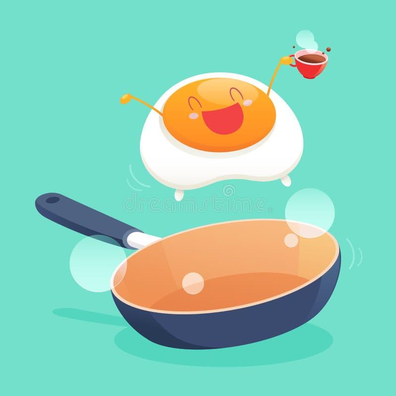 Buena mañana, sonrisa para el desayuno dulce stock de ilustración