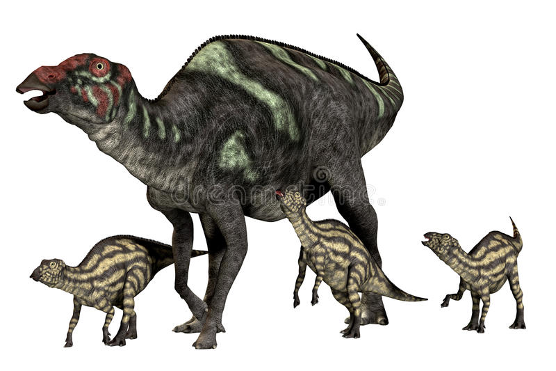 Buena madre de Maiasaurus stock de ilustración