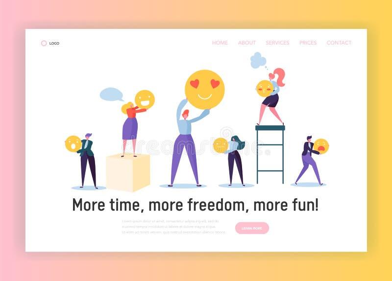 Buena página del aterrizaje del concepto de la organización del trabajo en equipo Smiley de la tenencia del varón divertido y del stock de ilustración