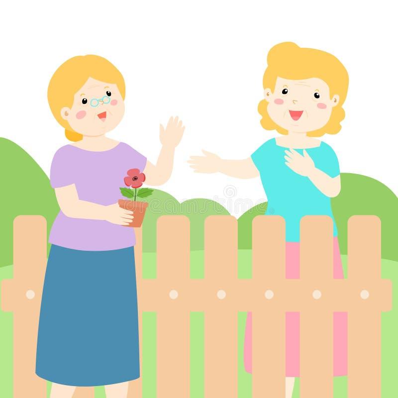 Buena relación del vecino mayor libre illustration