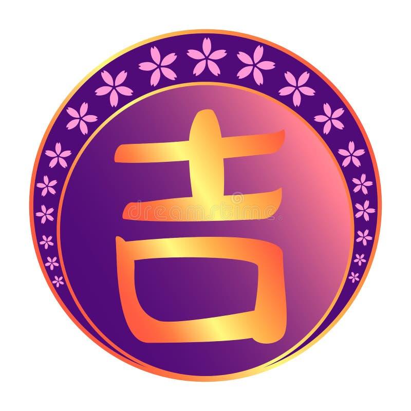 Buena suerte y carácter chino de la alegría libre illustration