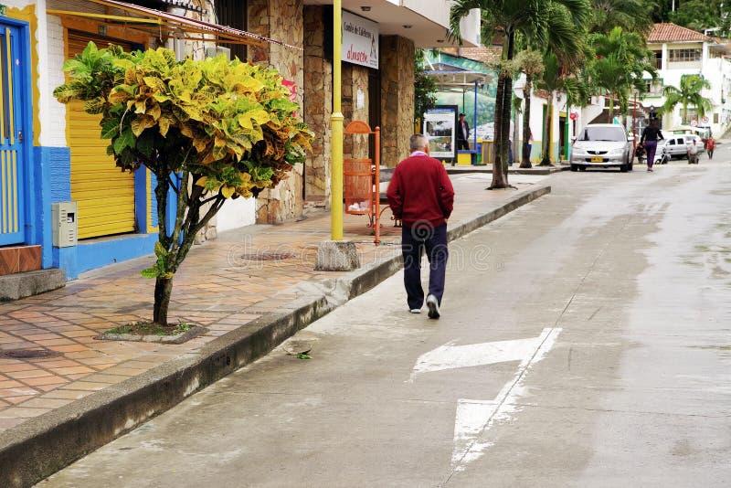 BUENA VISTA, COLÔMBIA - 14 DE MAIO DE 2019: Cena da rua em Buena Vista - Antioquia, vila famosa em Colômbia para sua cultura do c imagem de stock