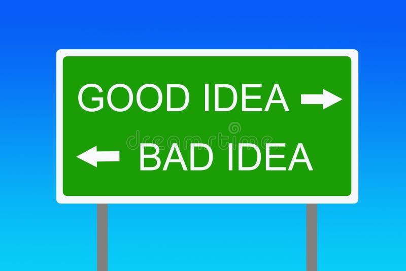 Buena y mala idea stock de ilustración