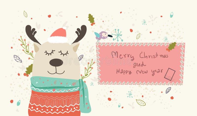 Buenas fiestas Feliz Navidad y Feliz Año Nuevo, tarjeta de felicitación feliz, vector de los deseos de la mano de la tarjeta del  stock de ilustración