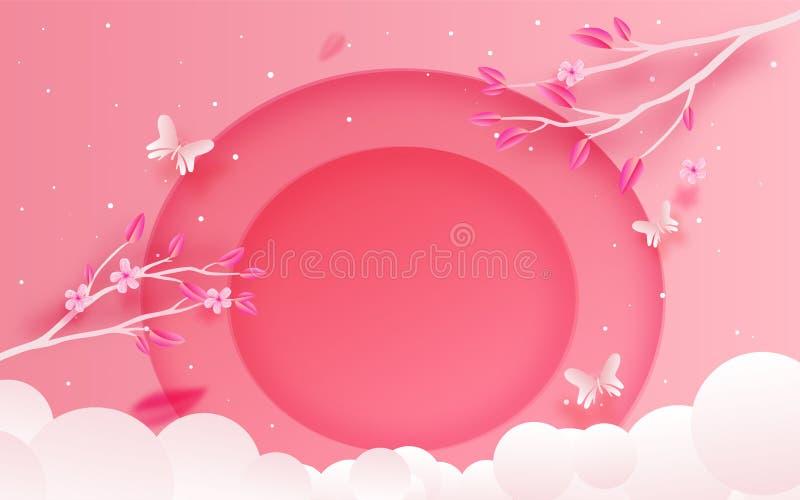 Buenas fiestas Flores de la primavera en fondo rosado Blosso de la cereza libre illustration