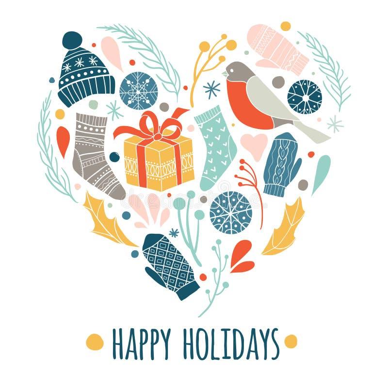 Buenas fiestas Iconos de la Navidad fijados en forma del corazón del amor libre illustration