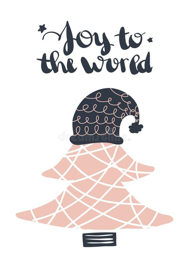 Buenas fiestas La tarjeta de felicitación hermosa rasguñó caligrafía negra de la palabra del texto Impresión dibujada mano de la  ilustración del vector