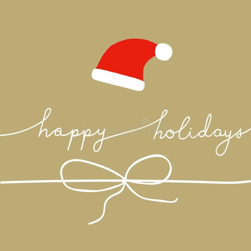 Buenas fiestas letras de la mano Fondo beige Santa Claus Hat White Twine Bow del papel del arte de la tarjeta de felicitación del stock de ilustración