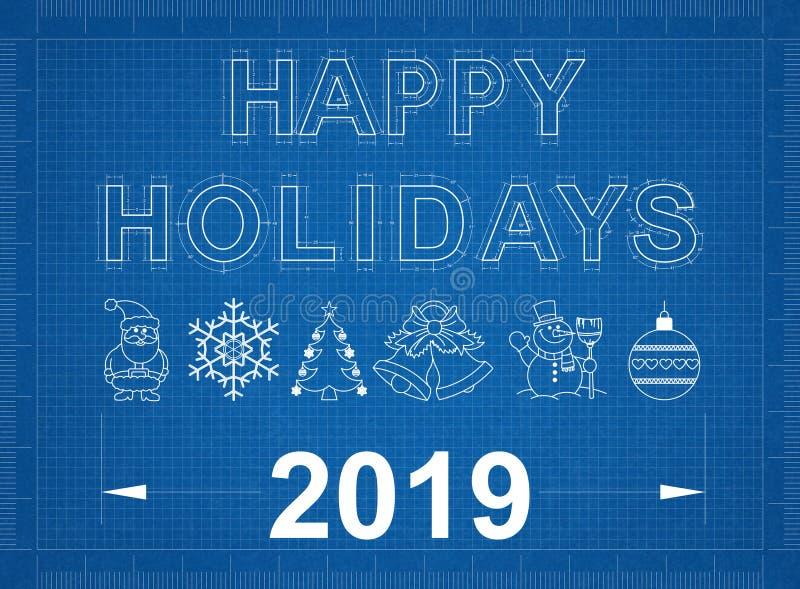 Buenas fiestas modelo 2019 ilustración del vector