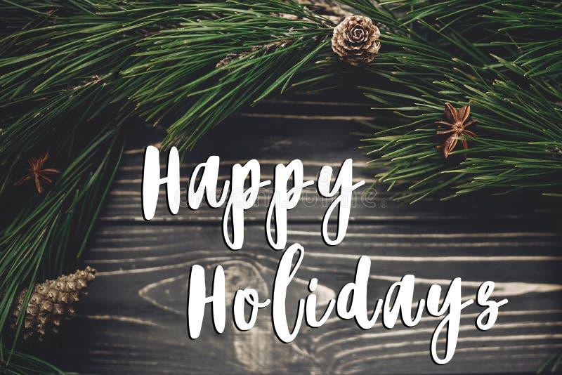 Buenas fiestas muestra del texto, tarjeta de felicitación rusti elegante de la Navidad imágenes de archivo libres de regalías
