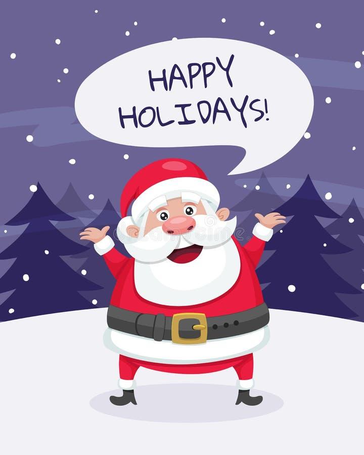 Buenas fiestas tarjeta de felicitación de la Navidad Santa en la nieve stock de ilustración