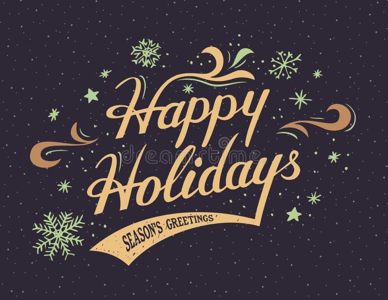 Buenas fiestas tarjeta de las mano-letras stock de ilustración