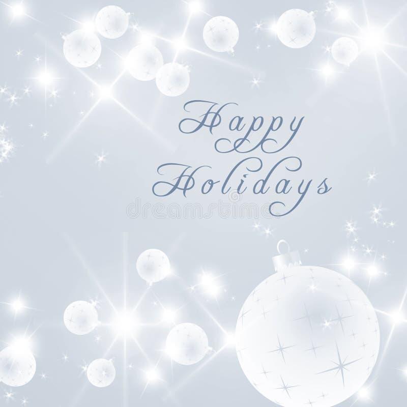 Buenas fiestas texto escrito en fondo brillante de la Navidad Bolas de los fuegos antiaéreos de la nieve de las estrellas libre illustration