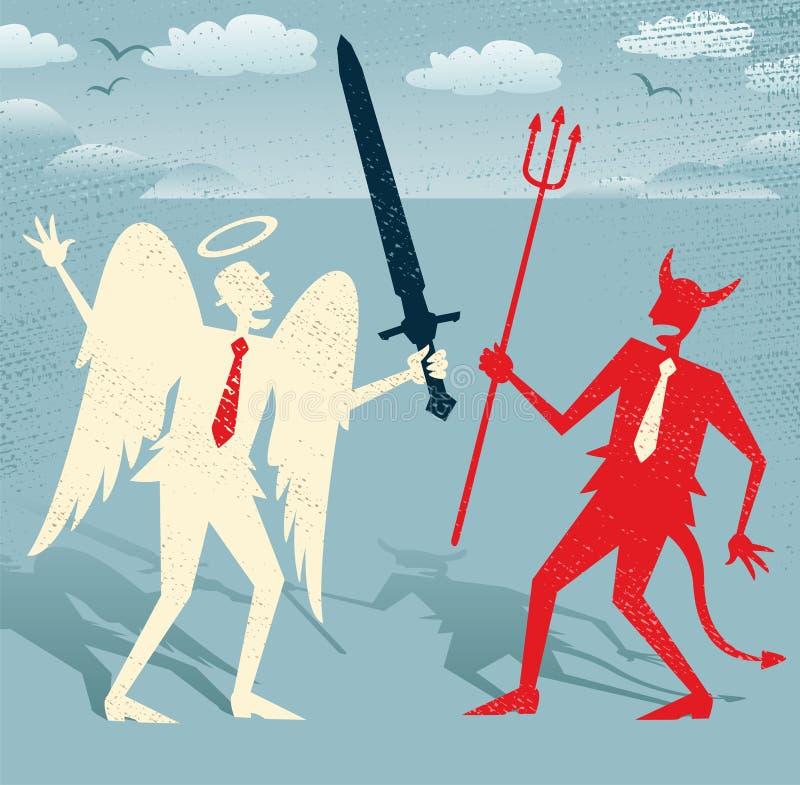 Buenas luchas de los hombres de negocios abstractos contra mal ilustración del vector