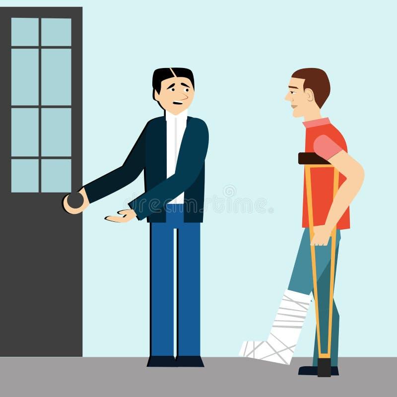 Buenas maneras el hombre abre la puerta en los minusválidos etiqueta Hombre en las muletas Pierna quebrada hombre educado stock de ilustración