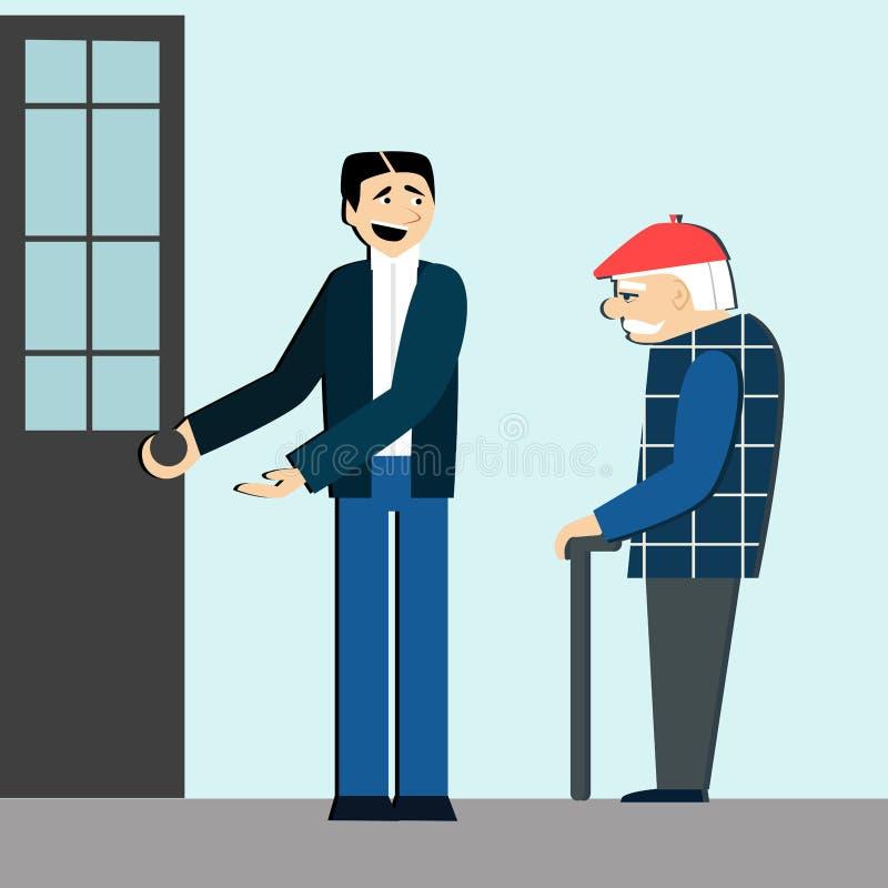 Buenas maneras el hombre abre la puerta para el viejo hombre etiqueta hombre educado libre illustration