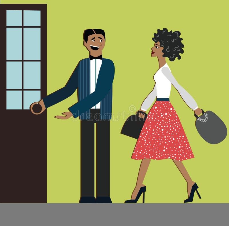 Buenas maneras el hombre abre la puerta para la mujer etiqueta decoro Mujer de las compras vestido elegante y colinas Mujer afric libre illustration