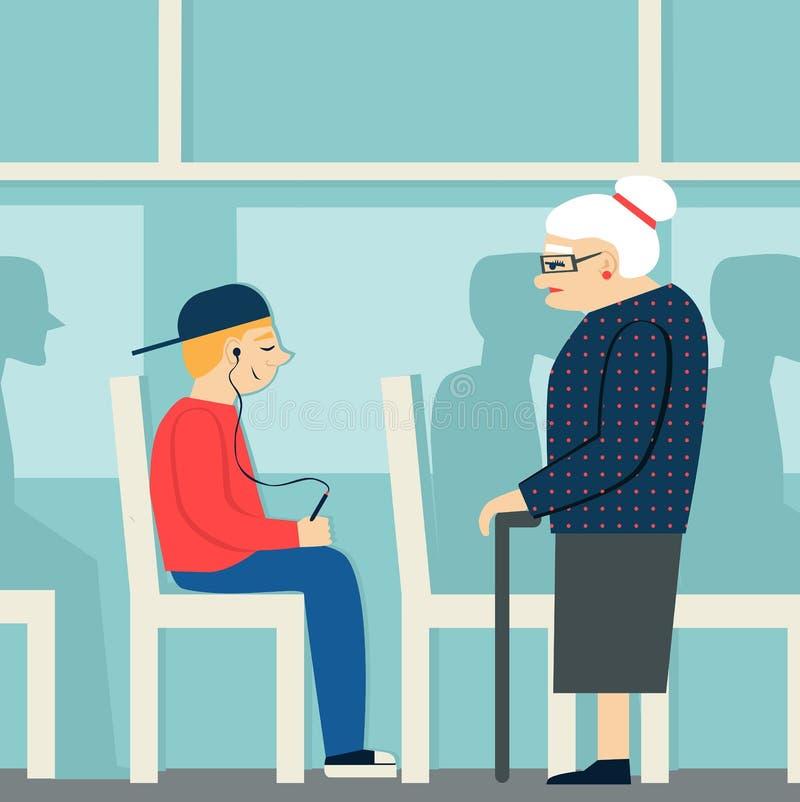 Buenas maneras mujer jubilada en el autobús para llevar a una persona mayor mujer cansada y muchacho joven con el jugador stock de ilustración