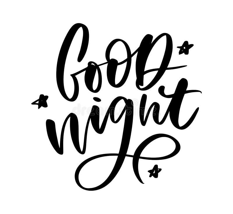 Buenas noches Cartel dibujado mano de la tipograf?a Dise?o caligr?fico indicado con letras de la mano de la camiseta Lema inspira libre illustration