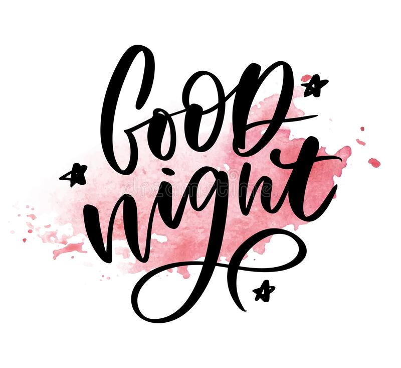 Buenas noches Cartel dibujado mano de la tipograf?a Dise?o caligr?fico indicado con letras de la mano de la camiseta Lema inspira ilustración del vector