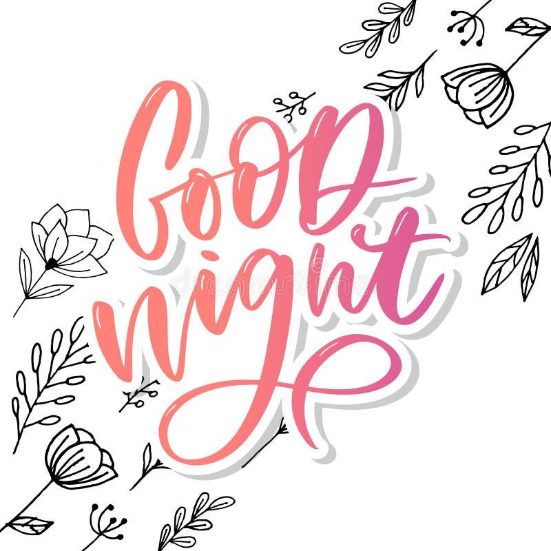 Buenas noches Cartel dibujado mano de la tipograf?a Dise?o caligr?fico indicado con letras de la mano de la camiseta Lema inspira imágenes de archivo libres de regalías