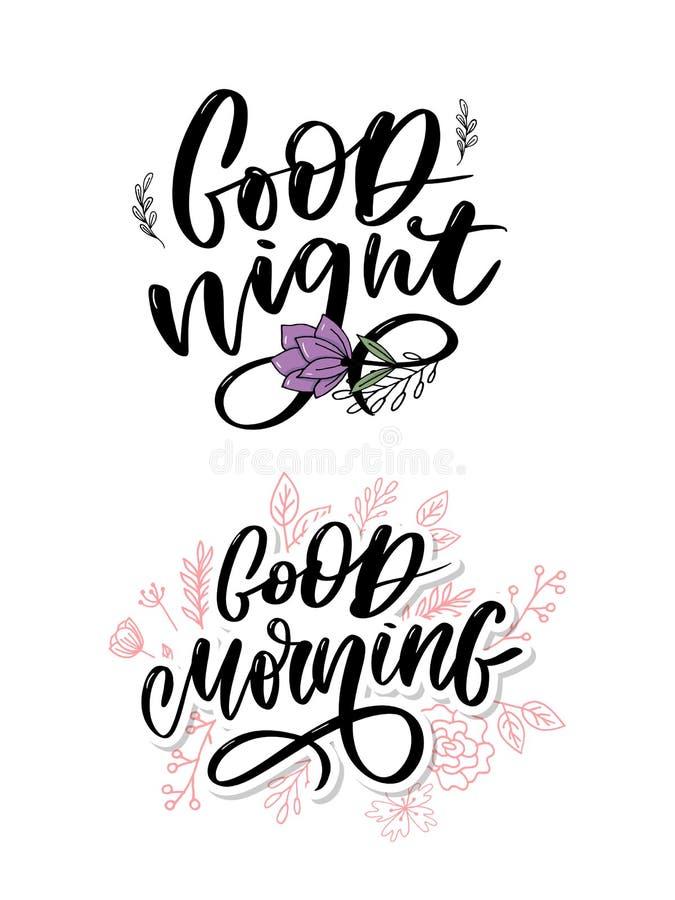 Buenas noches Cartel dibujado mano de la tipograf?a Dise?o caligr?fico indicado con letras de la mano de la camiseta Lema inspira fotos de archivo