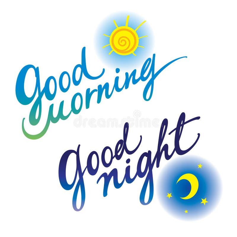 Buenas noches de la buena mañana stock de ilustración