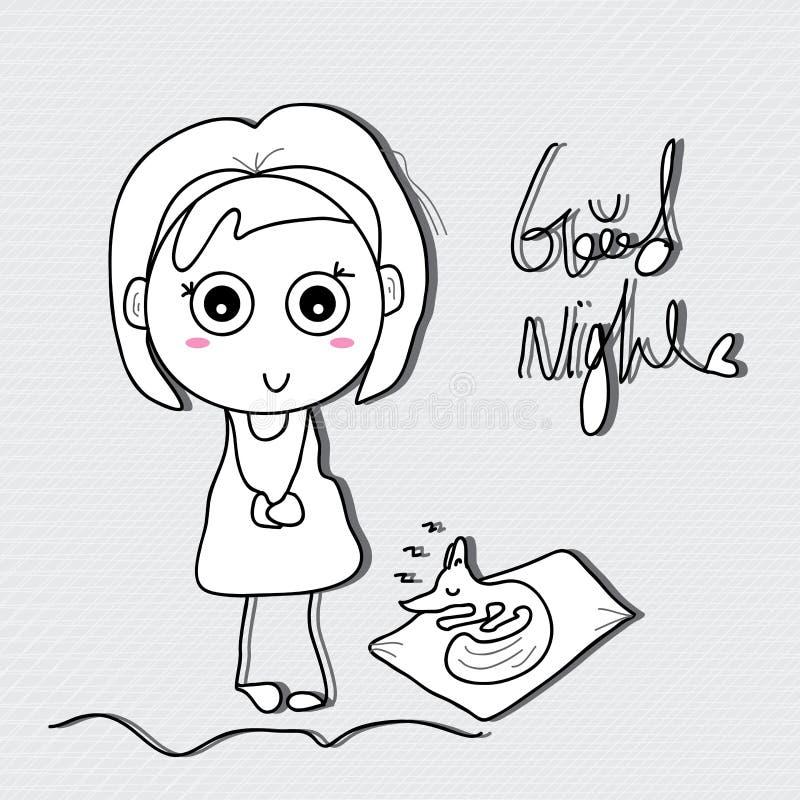 Buenas noches del niño de la muchacha libre illustration