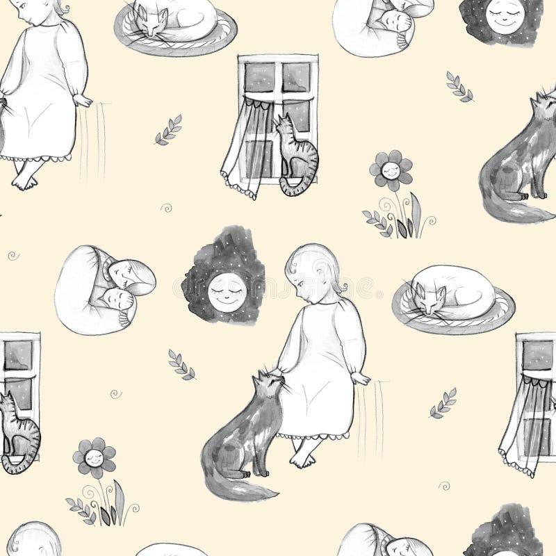 Buenas noches fije, los elementos a mano del diseño Mama y bebé gente Modelo inconsútil ilustración del vector