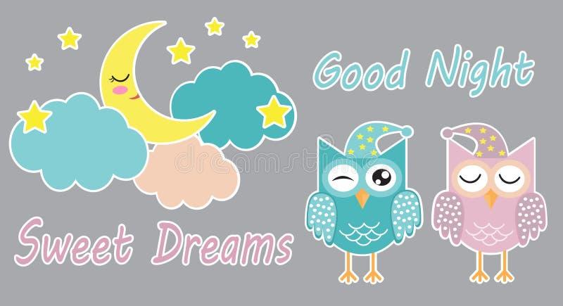 Buenas noches y sistema lindo de los sueños dulces de etiquetas engomadas con los búhos, las nubes, la luna y las estrellas el do ilustración del vector