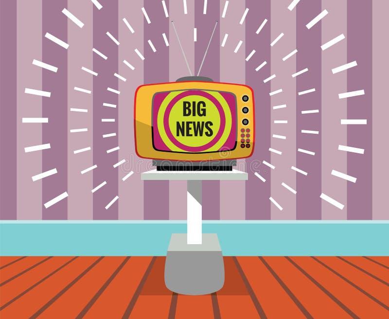 Buenas noticias - dibujo de un APARATO DE TV con la pantalla de las buenas noticias imágenes de archivo libres de regalías