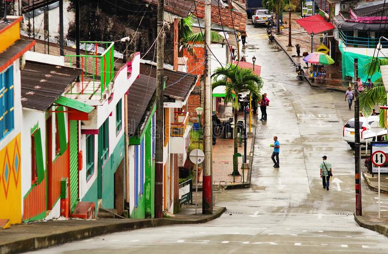 BUENAVISTA, COLOMBIA - AUGUST 14, 2018: Street scene in Buenavista, Quindio. Buenavista is a municipality in the south-central part of the department of Quind royalty free stock image