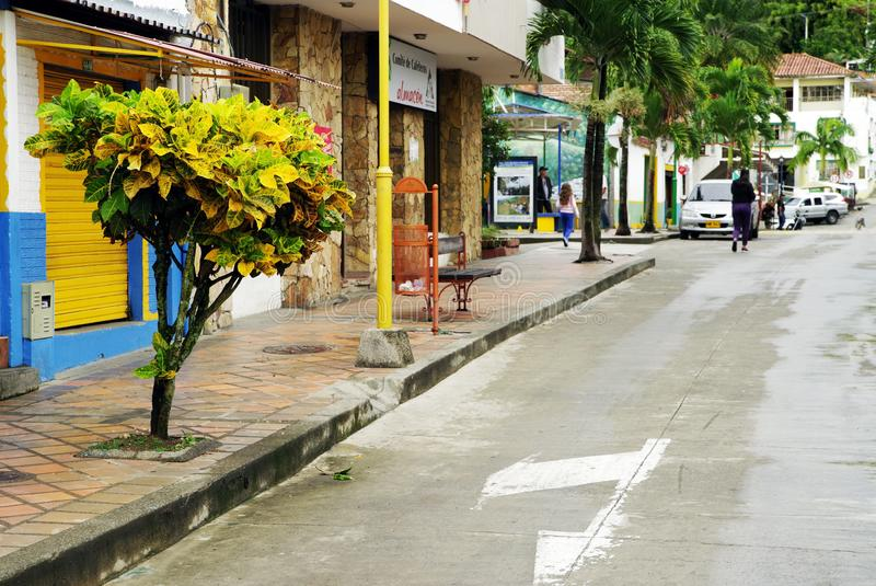 BUENAVISTA, COLOMBIA - MAY 14, 2019: Street scene in Buenavista - Antioquia, famous village in Colombia for its coffee culture. Buenavista is a municipality in royalty free stock photography