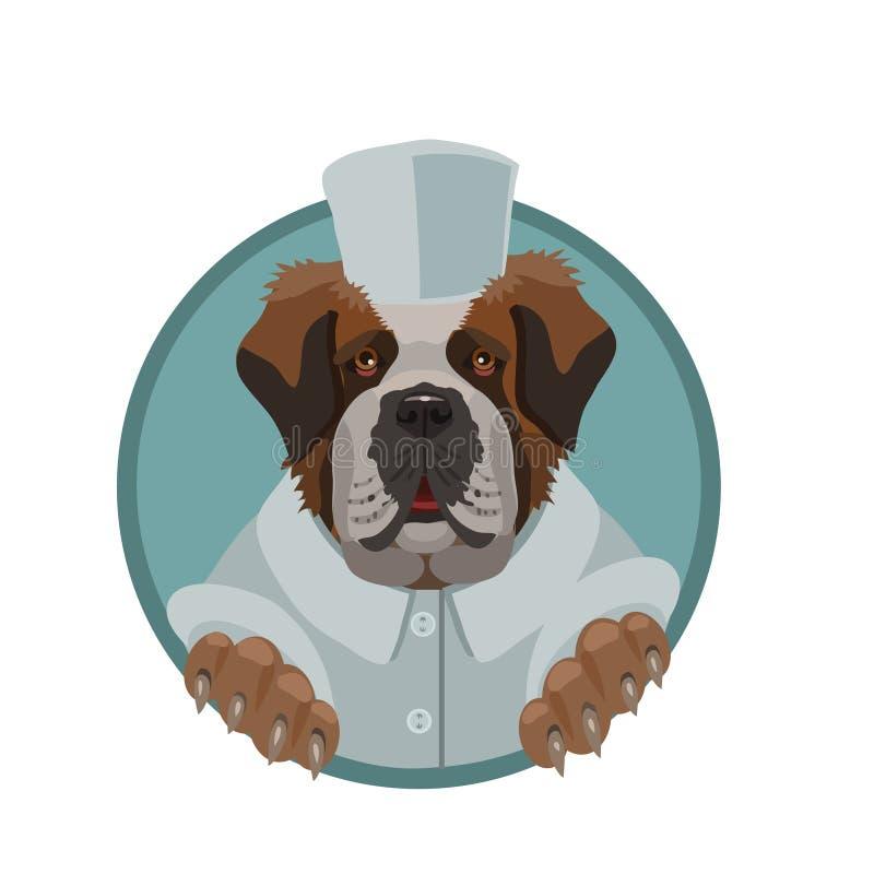 Bueno y un perro enorme de St Bernard libre illustration