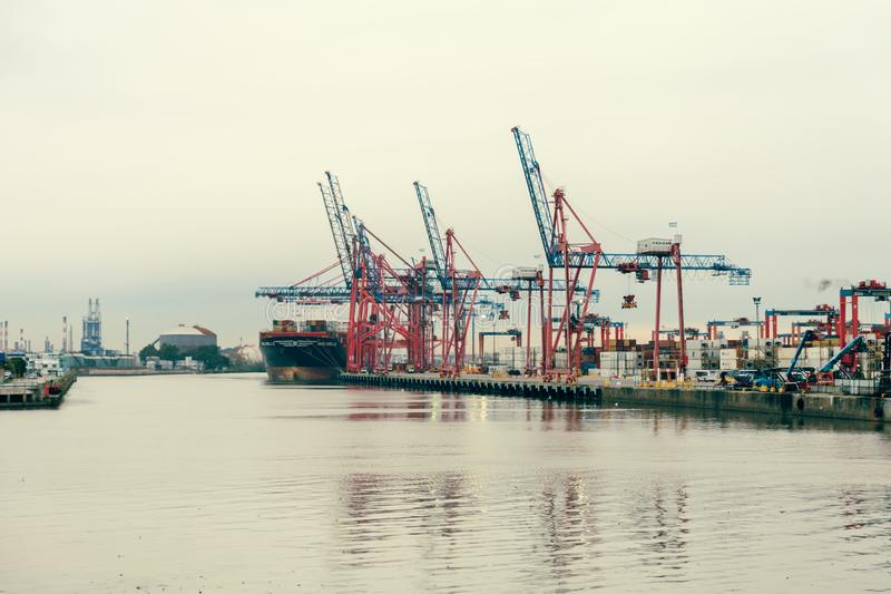 Buenos Aires, Argentina - Aug. 28, 2019: Container ship in dock in the port of Buenos Aires. The MSC Giselle container. Ship in the cargo port of Buenos Aires stock photography