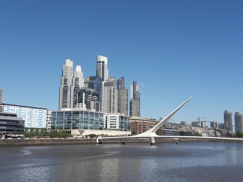 Buenos Aires Argentina city scene and bridge stock photo