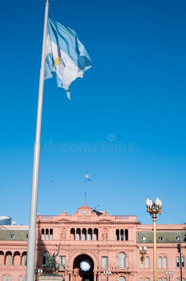 Buenos Aires, Argentina – Casa Rosada pink house and a flag royalty free stock photography