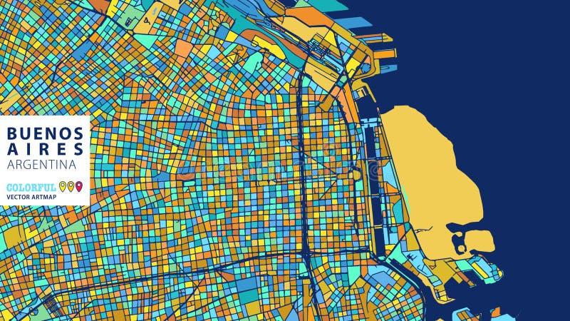 Buenos Aires Argentina, färgrik vektor Artmap vektor illustrationer