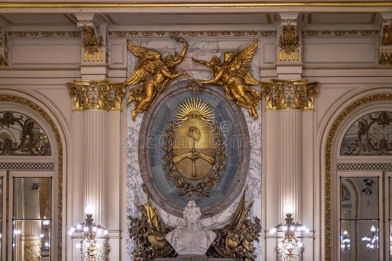 Argentina Coat of Arms in a Hall inside Casa Rosada Presidential Palace - Buenos Aires, Argentina stock photo