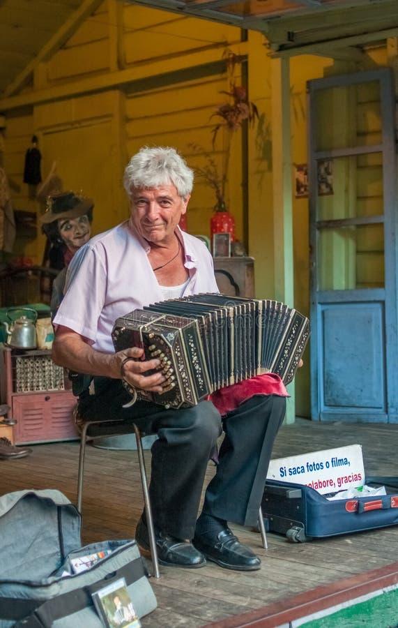 BUENOS AIRES, ARGENTINA - February, 24: La Boca bandoneonist, st stock photo