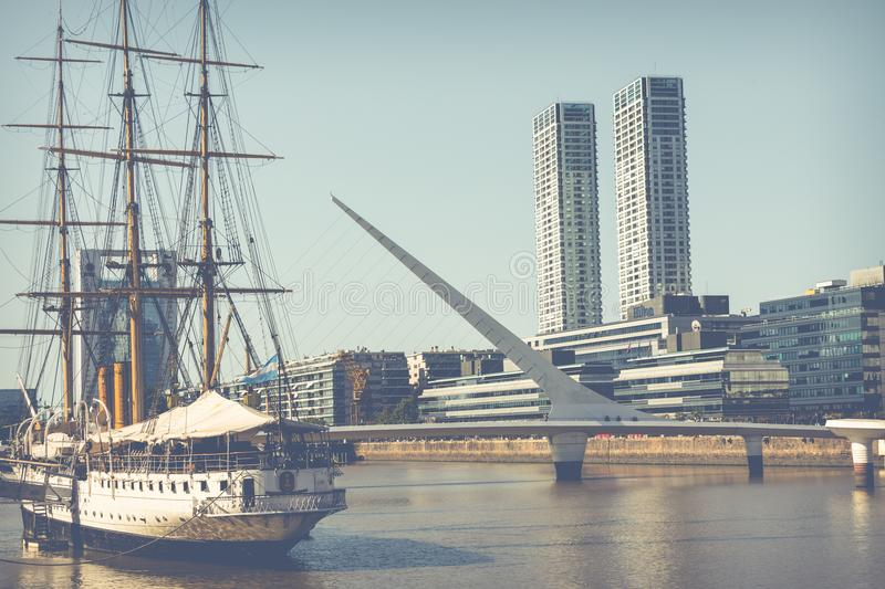 BUENOS AIRES, ARGENTINA - FEBRUARY 05, 2018: Museum Frigate Sarmiento President in Puerto Madero Waterfront district. Modern royalty free stock photos