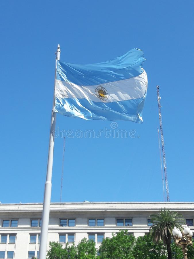 Buenos Aires Argentina Flag in the wind. Travel, tourism stock photography