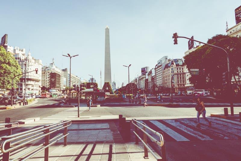 BUENOS AIRES ARGENTINA - JANUARI 30, 2018: Obelisken är en maj royaltyfri fotografi
