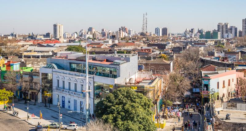 Buenos Aires, Argentina - July 18, 2017: View at La Boca neighborhood. View at La Boca neighborhood on a sunny day royalty free stock photography
