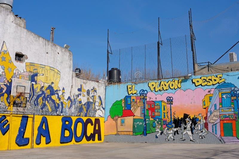 BUENOS AIRES, ARGENTINA, JUNE 18, 2018: Murga graffiti soccer field, La Boca, Buenos Aires, Argentina on June 18, 2018 royalty free stock photography