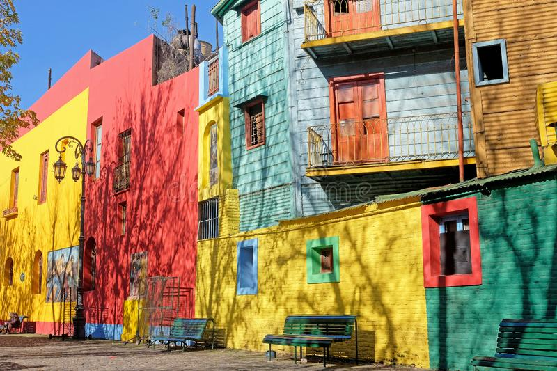 BUENOS AIRES, ARGENTINA, JUNE 18, 2018: Traditional colorful houses on Caminito street in La Boca, Buenos Aires royalty free stock photography
