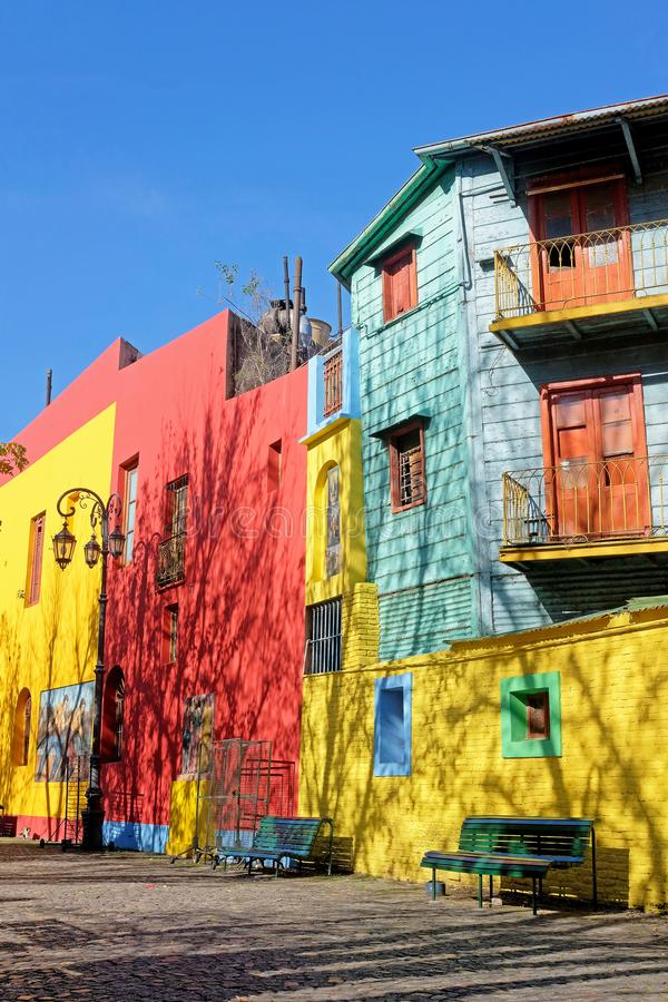 BUENOS AIRES, ARGENTINA, JUNE 18, 2018: Traditional colorful houses on Caminito street in La Boca, Buenos Aires stock photos