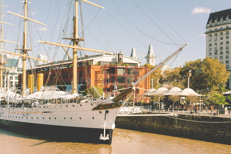 BUENOS AIRES, ARGENTINA - MAY 05, 2017: Museum Frigate Sarmiento President, moored in the docks of Puerto Madero, buenos aires, s royalty free stock photography