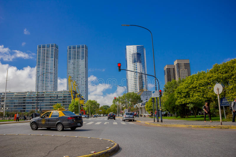 BUENOS AIRES, ARGENTINA - MAY 02, 2016: nice view of some modern buildings located close to the river and in front of a royalty free stock photography